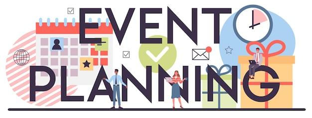 Cabeçalho tipográfico de planejamento de eventos