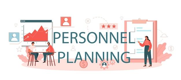 Cabeçalho tipográfico de planejamento de pessoal