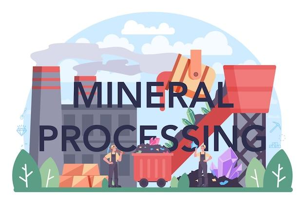 Cabeçalho tipográfico de processamento mineral. mineração e mineral natural
