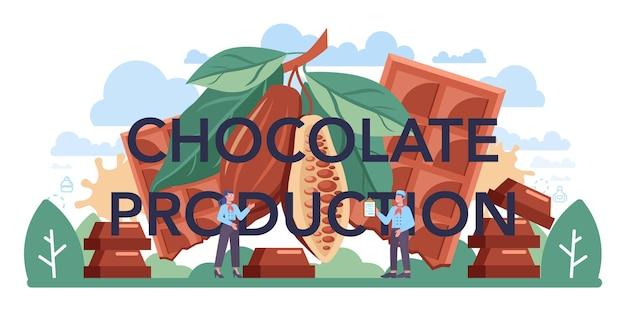 Cabeçalho tipográfico de produção de chocolate. fábrica de deliciosos pastéis e doces. processo de fabricação de confeitaria. ilustração em vetor plana isolada