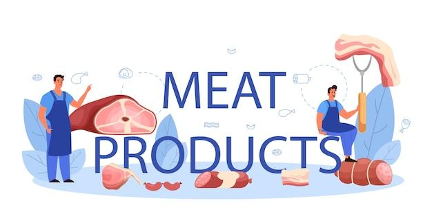 Cabeçalho tipográfico de produtos de carne.