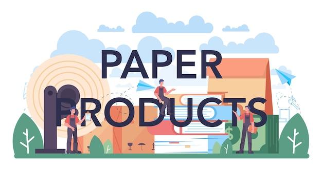 Cabeçalho tipográfico de produtos de papel. indústria de processamento de madeira e papel