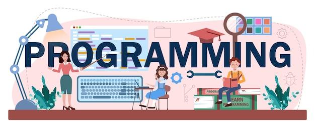 Cabeçalho tipográfico de programação. os alunos aprendem ciência da computação