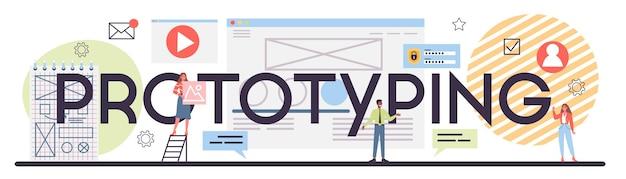 Cabeçalho tipográfico de prototipagem de site