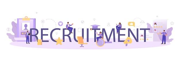Cabeçalho tipográfico de recrutamento