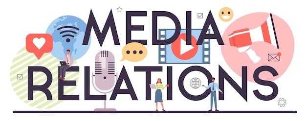 Cabeçalho tipográfico de relações com a mídia