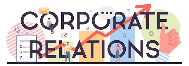 Cabeçalho tipográfico de relações corporativas