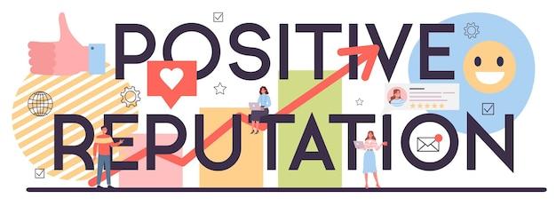 Cabeçalho tipográfico de reputação positiva