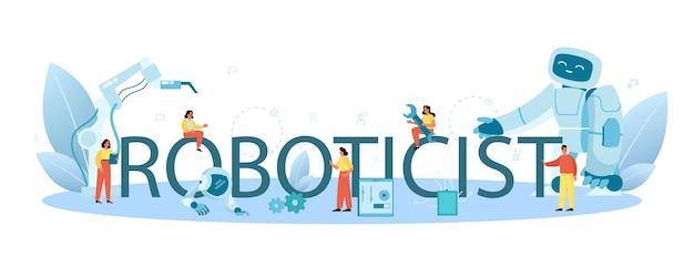 Cabeçalho tipográfico de roboticista. engenharia e construção robótica.