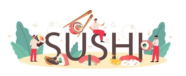 Cabeçalho tipográfico de sushi.