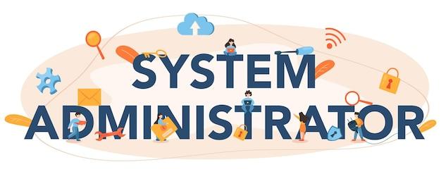 Cabeçalho tipográfico do administrador do sistema