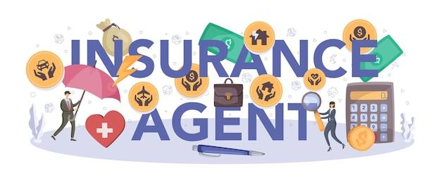 Cabeçalho tipográfico do agente de seguros