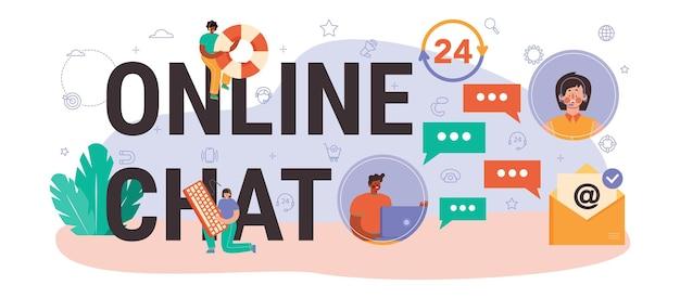Cabeçalho tipográfico do chat online. serviço de consultoria online, ideia de gerenciamento de estratégia e solução de problemas, pesquisa e recomendação. ilustração em vetor plana isolada