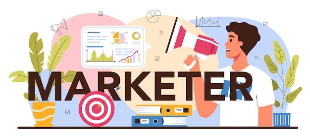 Cabeçalho tipográfico do comerciante. estratégia de marketing e comunicação com o cliente nas redes sociais. promoção da empresa, estratégia de preços, análise de tendências de mercado. ilustração vetorial plana