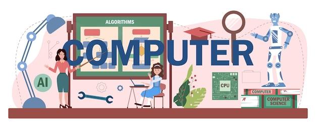 Cabeçalho tipográfico do computador. alunos aprendendo sobre algoritmos,
