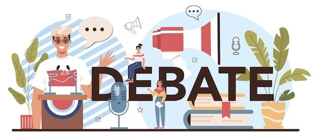 Cabeçalho tipográfico do debate. aula da escola de retórica. alunos treinando