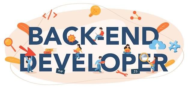 Cabeçalho tipográfico do desenvolvedor de back-end