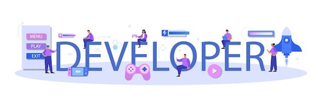 Cabeçalho tipográfico do desenvolvedor de jogos
