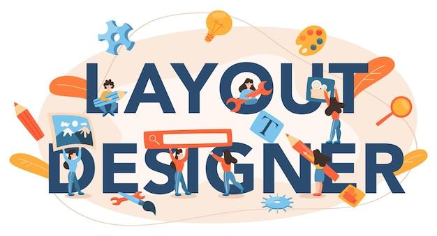 Cabeçalho tipográfico do designer de layout
