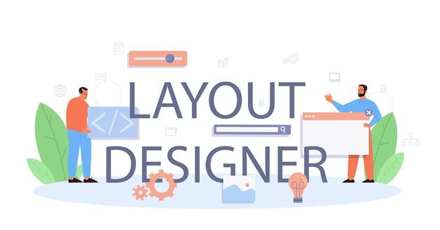 Cabeçalho tipográfico do designer de layout.