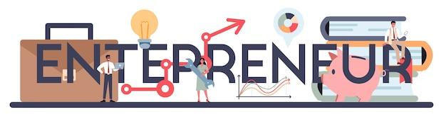 Cabeçalho tipográfico do empreendedor. ideia de negócio lucrativo, estratégia e realização.