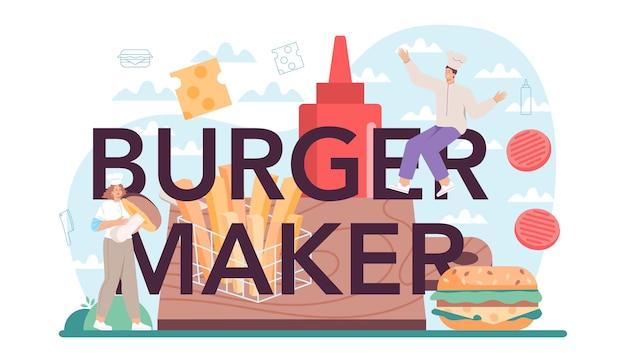 Cabeçalho tipográfico do fabricante de hambúrgueres com conceito de casa de fast food chef cozinheiro
