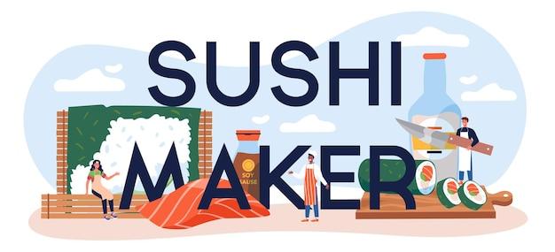 Cabeçalho tipográfico do fabricante de sushi