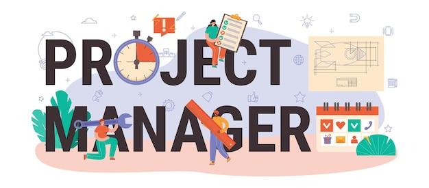 Cabeçalho tipográfico do gerente de projeto. planejamento de projeto de negócios bem-sucedido