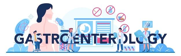 Cabeçalho tipográfico do médico de gastroenterologia. ideia de cuidados de saúde e tratamento estomacal.