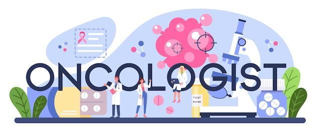 Cabeçalho tipográfico do oncologista profissional.