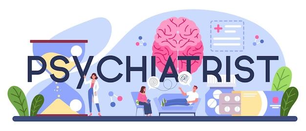 Cabeçalho tipográfico do psiquiatra. diagnóstico de saúde mental.