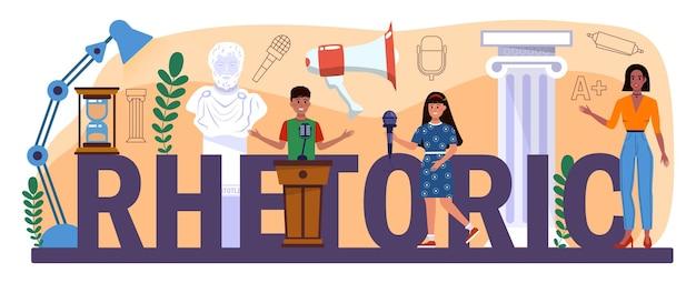 Cabeçalho tipográfico retórico. alunos treinando falar em público