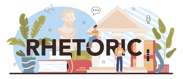 Cabeçalho tipográfico retórico. alunos treinando oratória e debates públicos