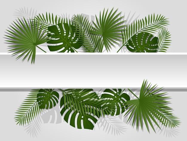 Cabeçalho tropical de verão verde com plantas e folhas de palmeiras exóticas.
