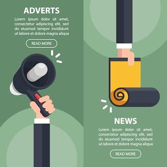 Cabeçalho vertical da web para anúncios e notícias.