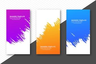 Cabeçalhos coloridos aquarela modernos definir modelo de design