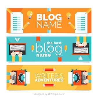 Cabeçalhos de blog em design plano