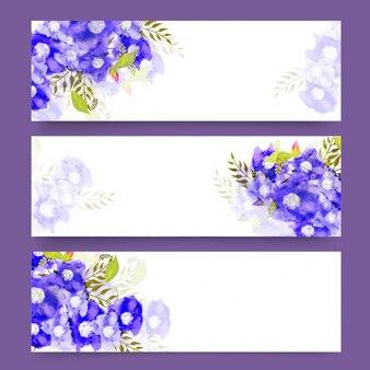 Cabeçalhos de site com flores de aguarela roxa.