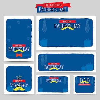 Cabeçalhos felizes do dia do pai em cores azuis e brancas.