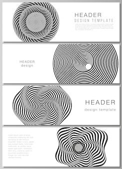Cabeçalhos, modelos de design do banner. abstrato geométrico 3d com ilusão de ótica preto e branco
