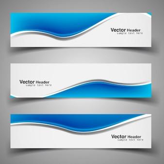 Cabeçalhos onduladas azuis