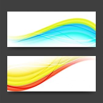 Cabeçalhos ou bandejas de sites com ondas coloridas.