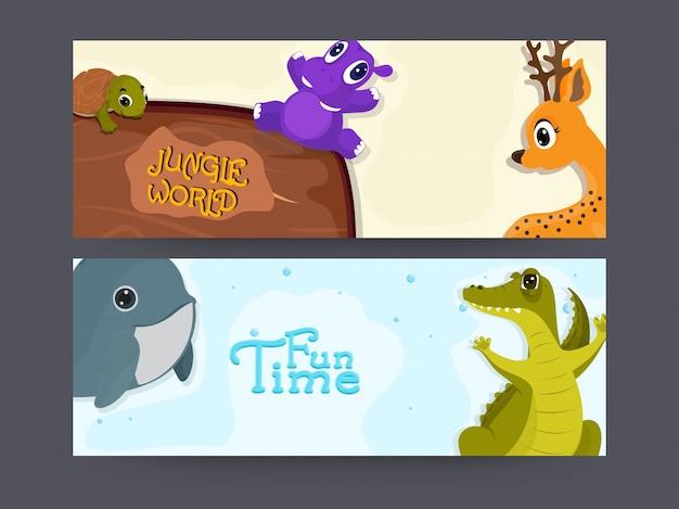 Cabeçalhos ou banners de sites configurados com personagens de animais bonitos, conceito vector for tour e travel.