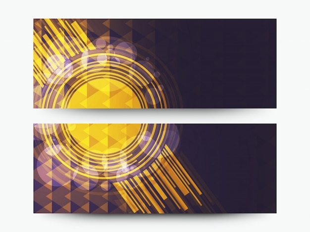 Cabeçalhos ou banners de sites criativos com elementos geométricos de alta tecnologia abstratos.