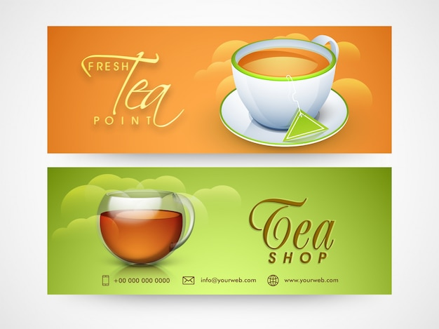 Cabeçalhos ou design de banners do tea shop para café e restaurantes.