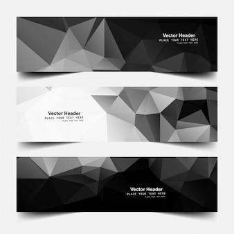 Cabeçalhos poligonais na cor preta