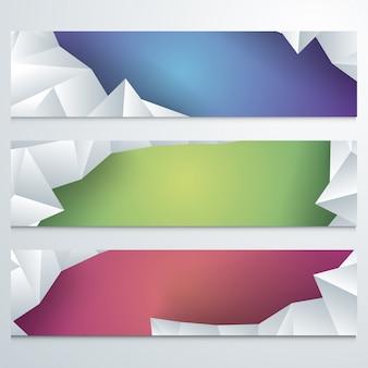 Cabeçalhos web coloridos configurados com elementos poligonais.