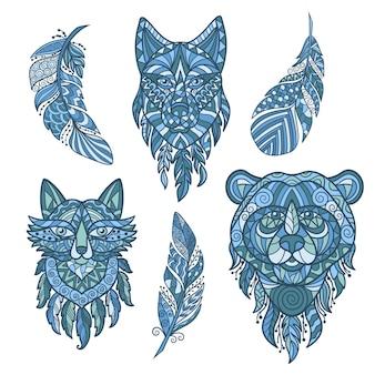 Cabeças abstratas de vetor de animais selvagens da floresta. azul em fundo branco