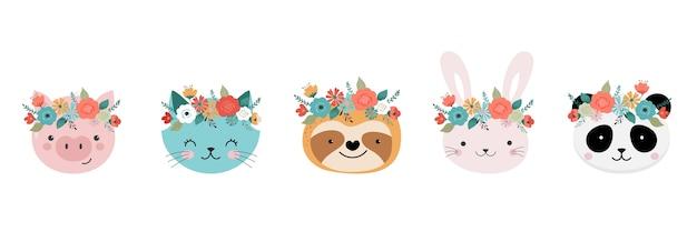 Cabeças de animais fofos com coroa de flores