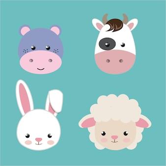 Cabeças de animais fofos conjunto ícone de design isolado
